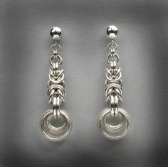 Sterling Silver Byzantine Earrings with Dot-Textured Rings.