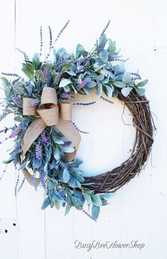 Lavender and Lamb's Ear Grapevine Wreath for Front Door, Spring Farmhouse Wreath with Burlap . : Lavender and Lamb's Ear Grapevine Wreath for Front Door, Spring Farmhouse Wreath with Burlap and Lavender, Spring Front Porch Home Decor, Wreaths For Front Door, Door Wreaths, Grapevine Wreath, Burlap Wreath, Front Porch, Front Doors, Shabby Chic Kranz, Shabby Chic Wreath, Bee On Flower