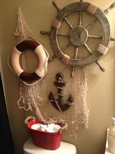 Pirate bathroom for my sons! Pirate bathroom for my sons! Pirate Bathroom Decor, Anchor Bathroom, Beach Theme Bathroom, Bathroom Red, Nautical Bathrooms, Beach Bathrooms, Sea Bathroom Decor, Bathroom Ideas, Pirate Bedroom