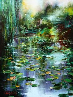 Gleb Goloubetski - Fog in Giverny — with Graham Powell at Graham Fine Art.Fog on Giverny 2009 oil on canvas by Gleb Goloubetski Fantasy Landscape, Landscape Art, Landscape Paintings, Monet Paintings, Impressionist Paintings, Lily Painting, Watercolor Landscape, Beautiful Paintings, Love Art