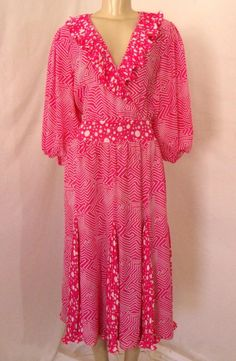 Vtg DIANE FREIS FRES Dress Hot Pink Ruffle V Neck Boho Chic Puff Slv Swing GODET #TeaDress #Cocktail
