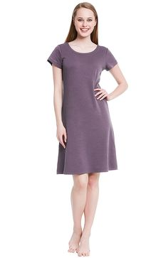 1e5629a77a55c Womens Cotton Knit Nightgown- Short Sleeve Sleep Dress - Pebble -  C512DSG8097