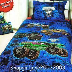 monster truck bedding | Monster-Jam-truck-Mash-Grave-Digger-Single-Twin-Bed-Quilt-Doona-Duvet ...