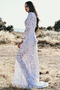 cd4d1532512b Vintage Long Sleeve Sheer Earthy Cotton Lace Floral Hourglass WEDDING Maxi  Dress Gown Boho Saldana Elopement Mariel Dress Lining Included