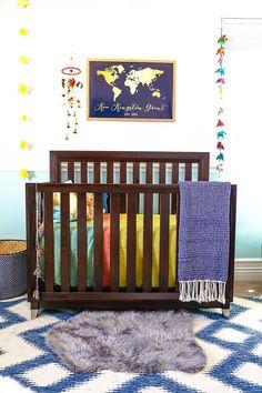 Before & After, Dana & Cary's Nursery-- With indigo ikat rug from @luluandgeorgia (www.luluandgeorgia.com)