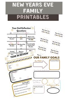 Celebrate NYE with your kids using these New Year's Eve Printable Questionnaires #familygoals #yearinreview #newyearsparty New Year's Eve Activities, Activities For Teens, Family Activities, Printable Scrapbook Paper, Printable Planner, Printables, Balloon Drop, Bite Size Food, New Year's Eve Celebrations