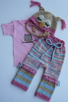 Cowgirl Owly Set knit by Elizabeth from Lizards Landing.