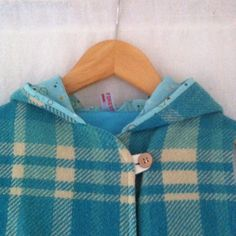Hunter vest in sea blue check size 3 - reserved listing by smallforestshop on Etsy
