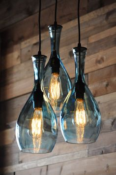Recycled Bottle Chandelier The Galleon 3Light by MoonshineLamp, $425.00 I want to make these out of Pinnacle bottles!
