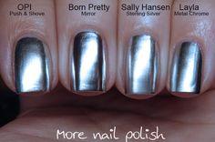 Silver chrome / mirror nail polish comparison ; 2/22/16