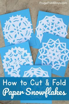 How to Cut and Fold Awesome Paper Snowflakes - instructions for folding and cutting six sided snowflakes. So pretty! Winter Activities for Kids Paper Snowflakes Easy, Snowflakes For Kids, Snowflake Craft, How To Fold Snowflakes, Christmas Crafts For Kids To Make, Crafts For Boys, Holiday Crafts, Toddler Crafts, Kid Crafts