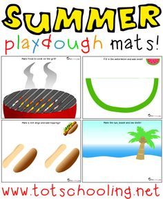 Totschooling - Toddler and Preschool Educational Printable Activities: Summer Playdough Mats Summer Activities, Preschool Activities, Preschool Summer Theme, Picnic Activities, Bubble Activities, Speech Activities, Children Activities, Picnic Theme, Picnic Parties