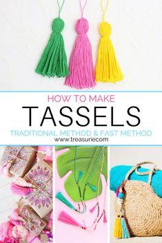 Macrame Projects, Diy Craft Projects, Craft Ideas, Decoupage, Tassel Bookmark, How To Make Tassels, Make Tutorial, Diy Tassel, Tassles Diy