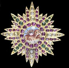 A rare and early gem-set gold Insignia of the Qajar Order of the Lion and Sun Persia, circa 1820