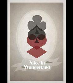 Affiche d'Alice au pays des merveilles de Disney en version minimaliste par Rowan Stocks-Moore