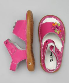 Look what I found on #zulily! Hot Pink Crystal Squeaker Sandal by Wee Squeak #zulilyfinds