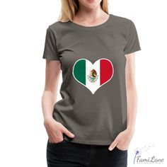 Mexico Proud Country Heart Flag T-Shirt for Womens - heather burgundy / L