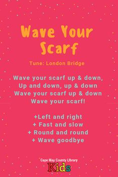 A great scarf rhyme with a familiar rhythm! Kids will love singing along and moving their scarves! - Kids education and learning acts Preschool Music Activities, Kindergarten Songs, Preschool Ideas, Movement Songs, Movement Activities, Transition Songs, Toddler Storytime, Circle Time Songs, Music For Toddlers