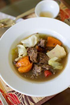 FILIPINO NILAGANG BAKA: Boiled Beef Stew by Kitchen Confidante on http://asianinamericamag.com (beef neck bones, stew meat, & patis)