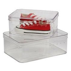 Children's Shoe Boxes by Container Store. Use only for their nicest shoes. There is little chance you will get them to put their shoes in a box at the end of every day!