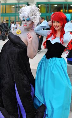 Ursula & the Little Mermaid, Can you believe these are just friends that like to dress up as them? I legit thought they worked there! Look up tracy hines on youtube SHE CAN SING TOO :)