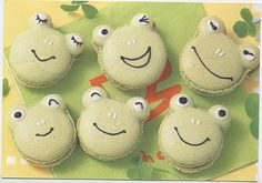Kawaii frog macarons smiling food postcard by postcardwish, via Flickr