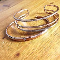 Bracelets rose gold nouvelle co : manchette Pavé open bar et jonc pavé Inset #rosegold#rosegoldcuff