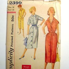 1950s Vintage Sewing Pattern  Chemise Shirtwaist by SelvedgeShop