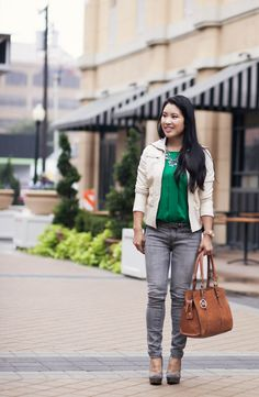 What to Wear with Grey Jeans: GREEN via @kileen