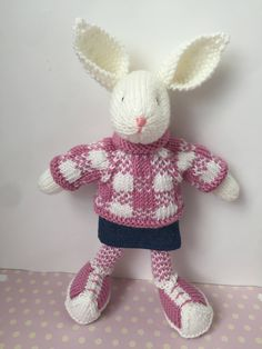 Hand knitted rabbit by Nodnook on Etsy