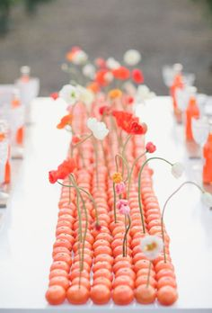 Orange Wedding Inspiration | Single blooms in clementines