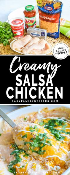 BEST CHICKEN DINNER EVER! This Creamy Salsa Chicken is an easy chicken dinner idea with knock your socks off flavor! Just one dish, a few ingredients and boom! Dinner is done! Bonus- it is gluten free, low carb, and perfect keto dinner idea! Easy Family Meals, Quick Easy Meals, Family Recipes, Xmas Recipes, Budget Recipes, Healthy Dinner Recipes, Mexican Food Recipes, Cooking Recipes, Dessert Recipes