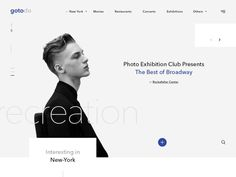 Fresh and contemporary main page re-design concept with some UI elements for informational portal. The company name and photos are placeholders.  Full project review and motion animation on Behance