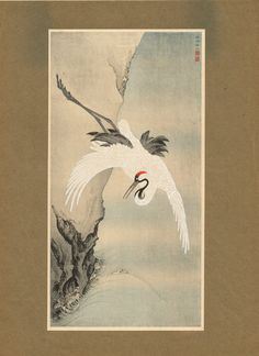 "Japanese antique woodblock print, Kano Senseki, ""Crane"""