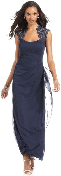 Xscape Xscape Petite Dress Sleeveless Metallic Lace Gown in Purple (Navy) Petite Dresses, Formal Dresses, Evening Shoes, Gowns Online, Review Dresses, Metallic Lace, Summer Dresses, Clothes, Alex Evenings