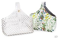 Tory Burch's Garden tote. The leather bag is available in an openwork white version with a metallic interior or in a botanical print with a lattice-patterned lining.