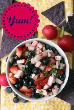 Strawberry, Blueberry, & Radish Salsa.   The only way this could be made better would be to add some turnips!