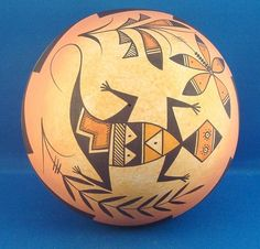 Native American Hand Coiled & Hand Painted Navajo Indian Pottery Large Lizard Seed Pot by Westly Begaye. $99.99 plus 8.00 shipping. Just Click on the above picture to be taken to the Ebay listing.