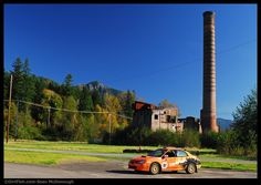 Old mill power plant stack looms over the rally school in Snoqualmie WA