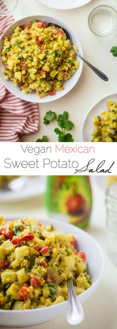 Vegan Mexican Sweet Potato Salad - This easy Mexican sweet potato salad has a spicy avocado chipotle dressing and grilled corn! It's a simple, gluten free and vegan-friendly side dish! | Foodfaithfitness.com | @FoodFaithFit