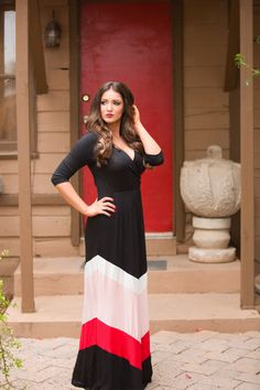 """Shades of Red Chevron Maxi Dress from Closet Candy Boutique Code """"repjennifer""""=10% off and FREE shipping!"""