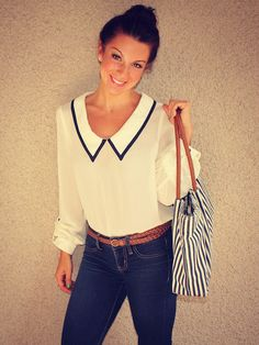 Chiffon sailor blouse, skinny jeans, skinny woven belt, and nautical striped tote.