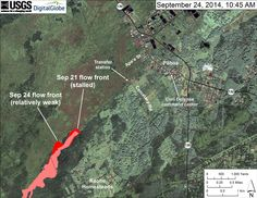 """According to USGS HVO, """"This map uses satellite imagery acquired in March 2014 (provided by Digital Globe) as a base image to show the area around the front of the June 27th lava flow. The flow front closest to the transfer station was inactive, but small, sluggish breakouts were scattered across the surface of the flow upslope from the stalled front. The most active breakout was advancing northeast from the north margin of the flow. Because the flow has not been advancing at its leading…"""