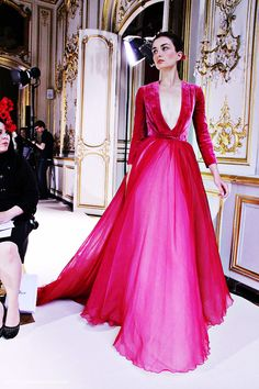 fuckyeahfashioncouture:  Georges Hobeika Haute Couture Fall-Winter 2012 Hot Pink Dress