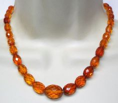 Vintage faceted AMBER bead NECKLACE beaded over 17 inches long 20 grams #unsigned #singlestrand