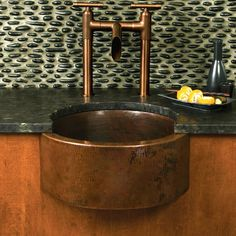"""19"""" Fiesta Apron-Front Round Copper Bar & Prep Sink"""