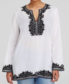 Michael Kors Plus Size Embroidered Tunic - I don't normally go for most of what Kors does for plus sizes but this is a great, classic tunic done in cotton.