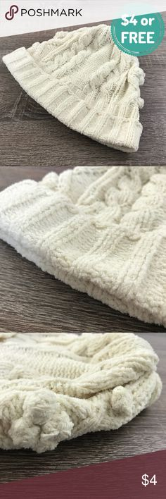$4 or Free Clearance: Plz Read description! Pre-loved beanie hat but in decent condition. No stains, major snags, or tears. Just average signs of wear as you can see from the pics. Free with any $10 minimum purchase!    PRODUCT DETAILS: •Size: One Size •Colors: Cream / Off White •Made in Vietnam •100% Knitted acrylic •Machine Wash •Decent thickness and soft •Some Cable Knit designs •Sewn Rolled Hem  Tags: fall winter Accessories Hats