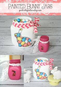 DIY Easter Jars, fun home decor or gift ideas for Easter. Great mason jar project!