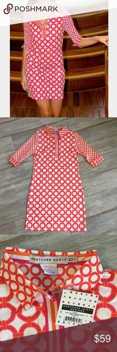 "NWT! Gretchen Scott Everywhere Jersey Dress -35"" Length -¾ Sleeves/Turn Back Cuffs -Coordinated Stripe Detailing -Contrast Inside Back Panel gretchen scott Dresses"